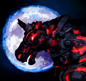 A unicorn with half a horn and glowing eyes